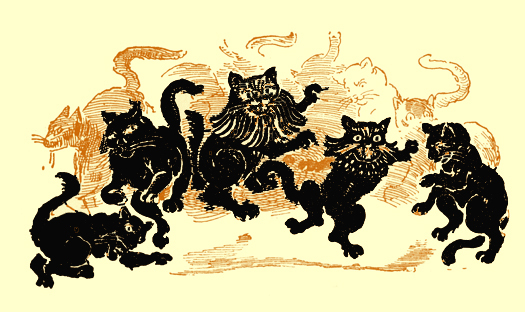 Black and white pencil sketch, by Moyr Smith, of several cats black dancing.