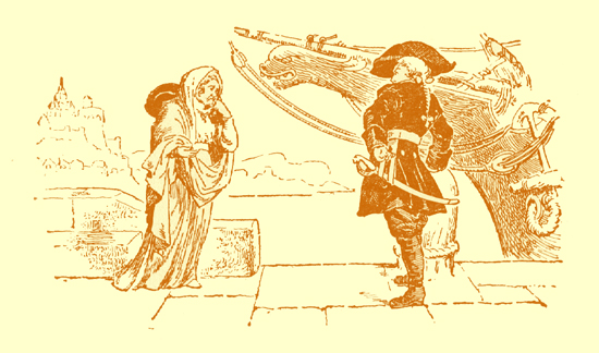 Black and white pencil sketch, by Moyr Smith, of a man on a pier, in front of a ship, talkig to an old woman in a long gown.  He is wearing a tricorne, high boots, and a frock-coat.