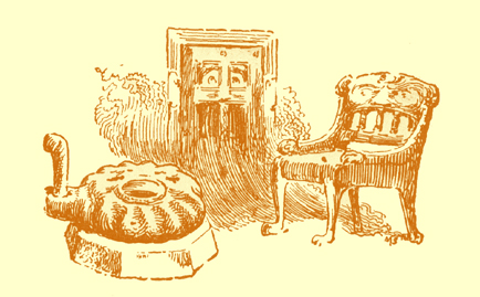 Black and white pencil sketch, by Moyr Smith, of a chair, a door and a handquern, all with hints of faces on them.