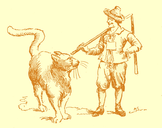 Black and white pencil sketch, by Moyr Smith, of a man  with a flail over his shoulder, smiling at a very large cat, as high as his waist, who is looking at him.