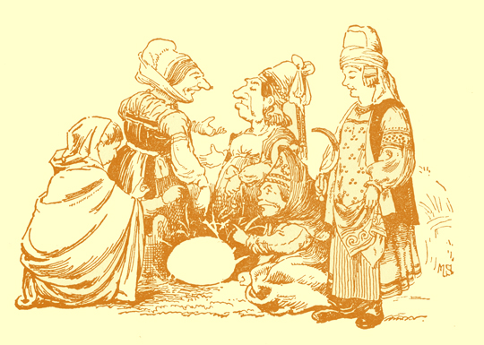 Black and white pencil sketch, by Moyr Smith, of five old women in peasant costumes talking to each other.  A large egg lies on the ground in the middle.