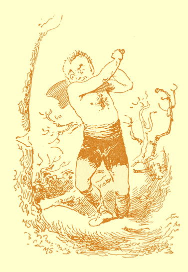 Black and white pencil sketch, by Moyr Smith, of a large man, wearing tattered shorts and no shirt, holding an ax over his shoulder, preparing to chop down a tree.