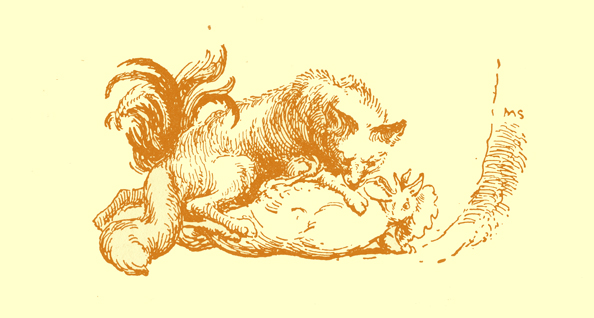 Black and white pencil sketch, by Moyr Smith, of a fox holding a rooster underneath him on the ground.