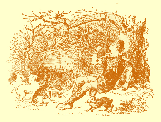 Black and white pencil sketch, by Moyr Smith, of a young man seated under a tree, with a musical pipe in his mouth, and three rabbits looking at him,  sitting on their haunches before him.