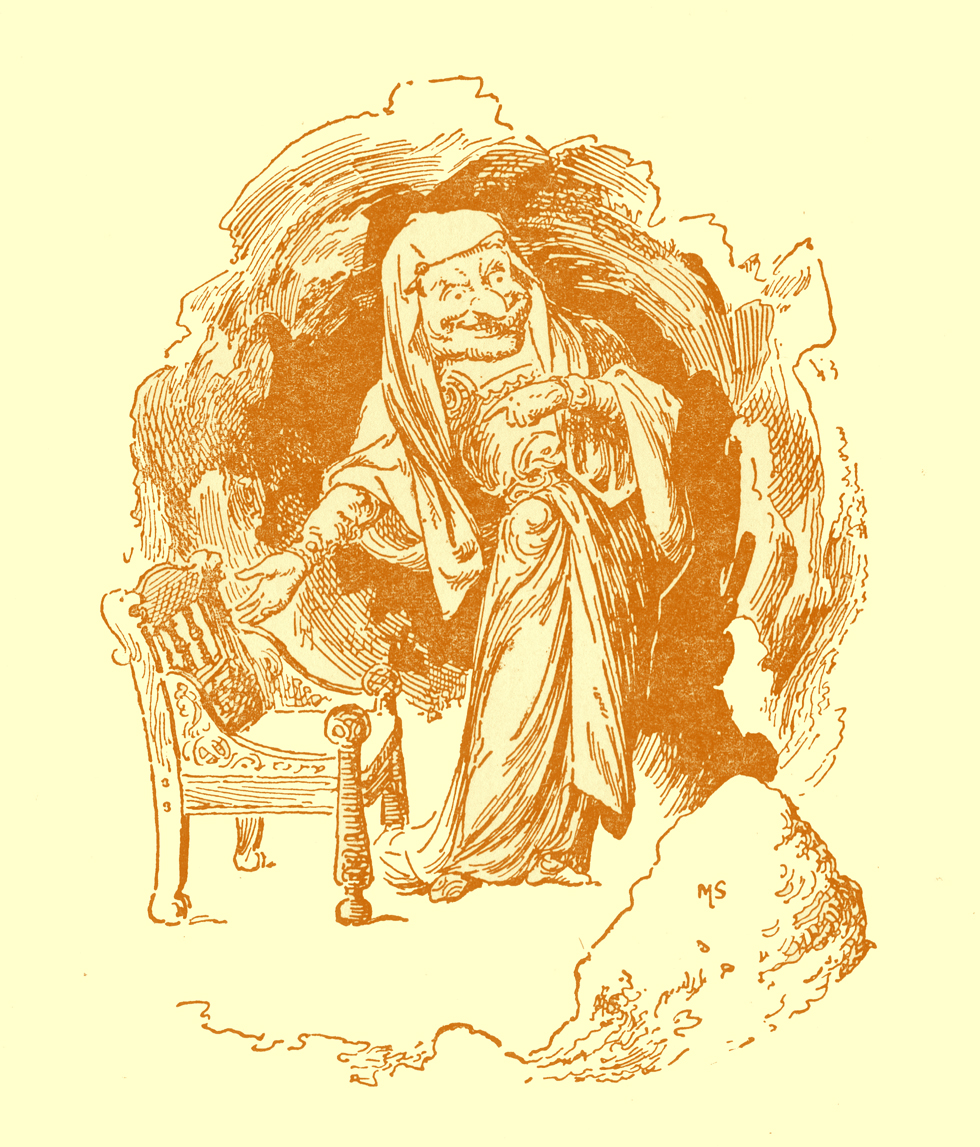Black and white pencil sketch, by Moyr Smith, of a monstrous looking old woman in a cave standing and gesturing with her hand towards an empty chair.