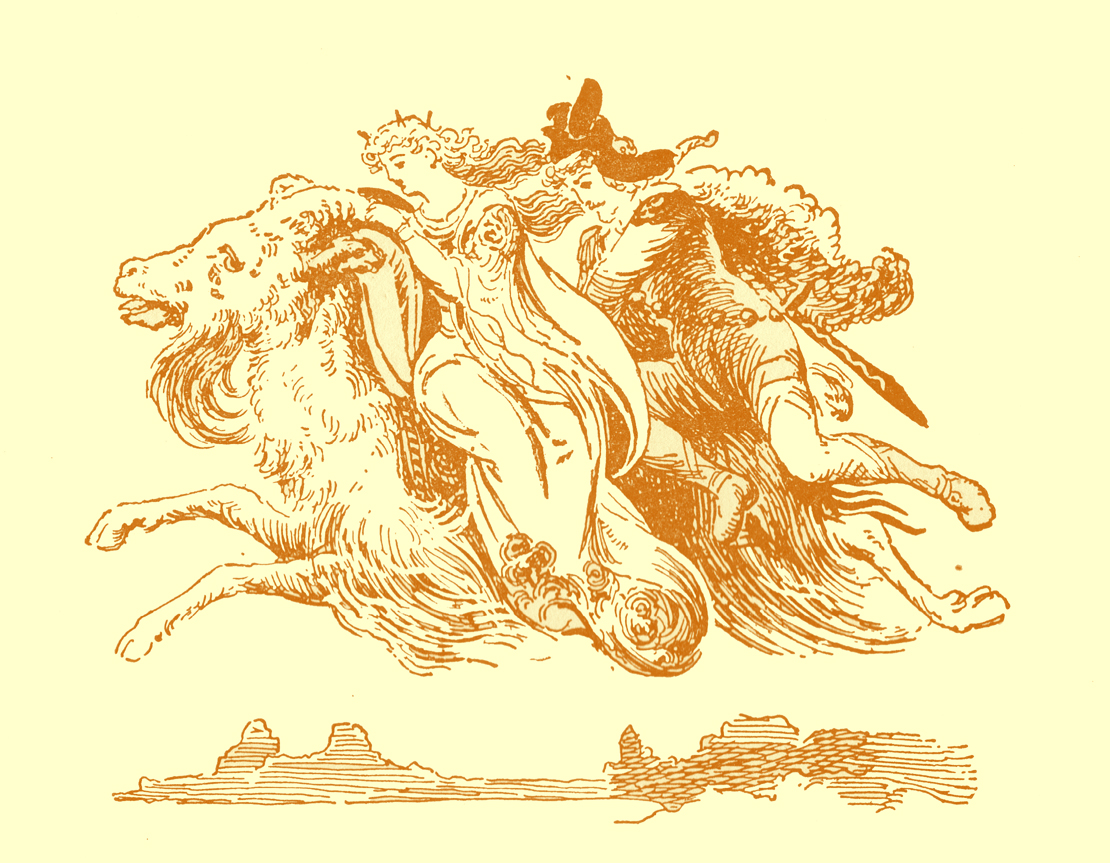 Black and white pencil sketch, by Moyr Smith, of a long-haired ram flying through the air with a the priness in a long gown side-saddle riding on him, holding his horns, and a man, wearing a hat, riding astride behind her.