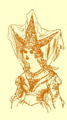 Black and white illustration, by Moyr Smith, of a princess with a hat with three points.