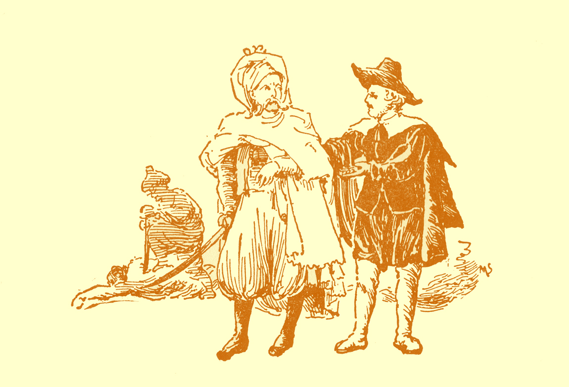 Black and white pencil sketch, by Moyr Smith, of a man in a long cloak, bloused pants, and turban, talking to a man in European garb of the 18th century: hat, cloak, short breeches, and belted jacket.