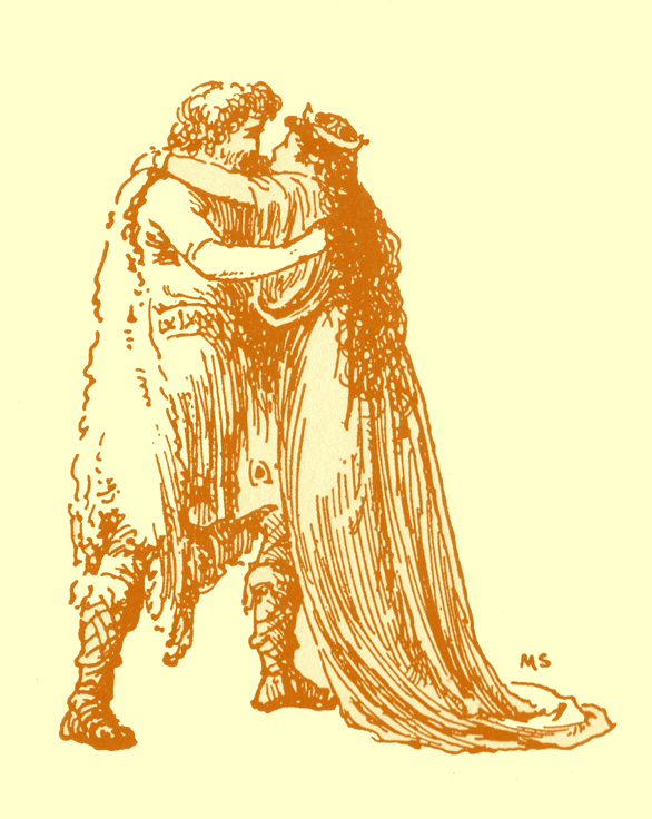 Black and white pencil sketch, by Moyr Smith, of a bearded man in a fur coat, hugging a princess in a long gown.