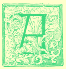 Black and white engraving of an illuminated letter A.