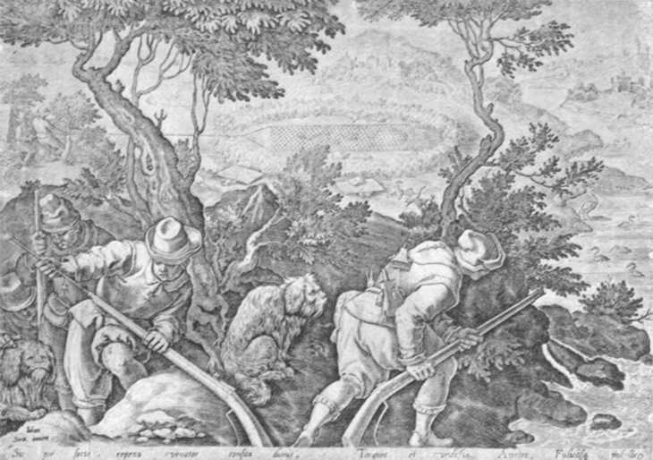 Black and white lithogravure, after Stradanus, of renaissances fowlers with ancient matchlocks and hunting dog.