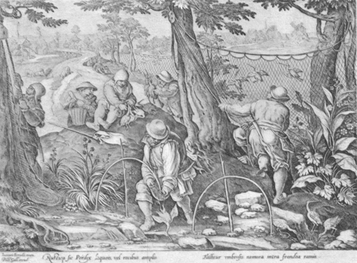 Black and white lithogravure, after Stradanus, of renaissances fowlers some trapping with snares and nets.