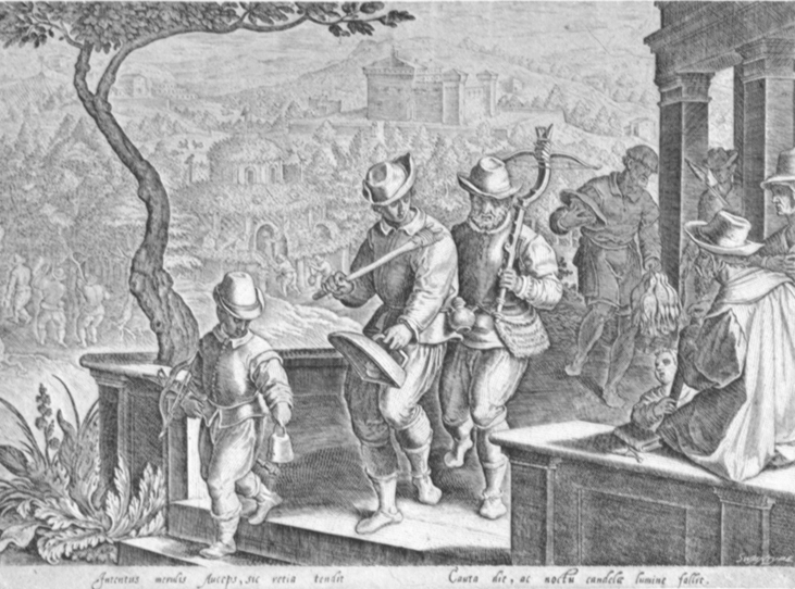 Black and white lithogravure, after Stradanus, of renaissances fowlers with a crossbow and a clapper and hunting dog.