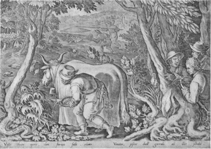 Black and white lithogravure, after Stradanus, of renaissances fowlers, one behind a stalking cow.