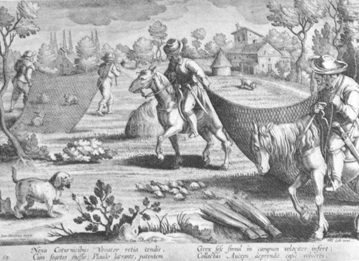 Black and white lithogravure, after Stradanus, of renaissances fowlers with nets and a hunting dog.