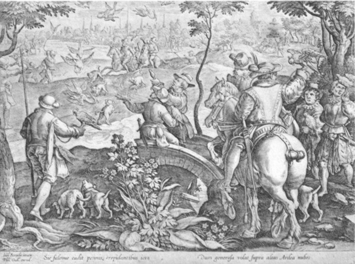 Black and white lithogravure, after Stradanus, of renaissances hunters hawking, a noble with his lady on a fat horse.