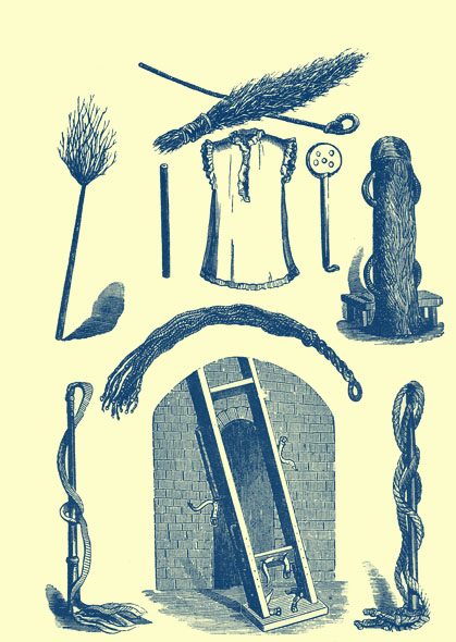 Black and white engraving of several instruments and accessories for beating folk.