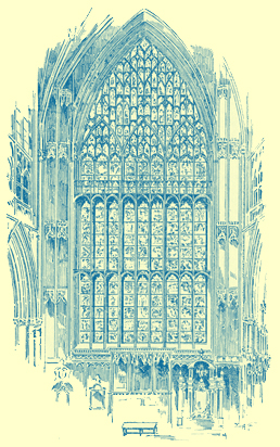 An engraving of the tall East Window of York Minster, mentioned in the text of the Chapter on Church Windows.