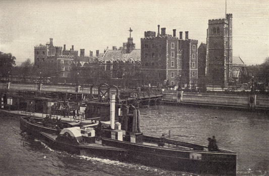 Black and white photograph of Lambeth Castle, England, with the Thames river before it, on which is a old-style boat, taken in the late 19th century.