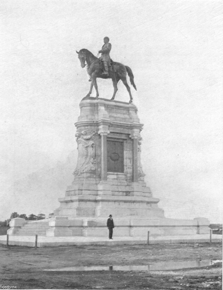 Photograph of the Lee Monument, by Mercie at Richmond, Virginia.  He is on horseback, in uniform.
