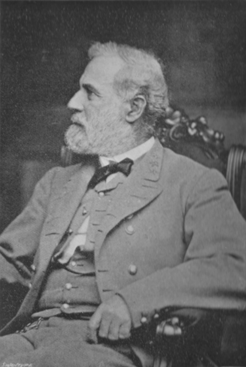 Photograph of Robert E. Lee, in profile, seated, wearing his uniform.