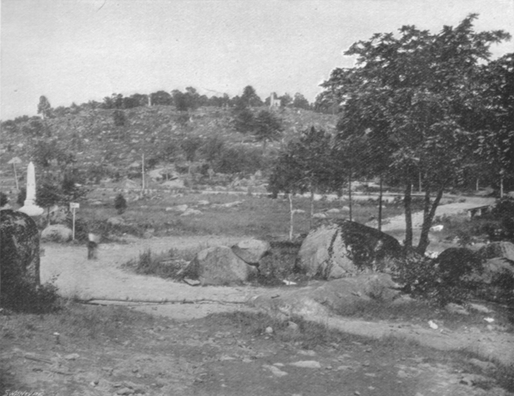 Black and white photograph of Little Round Top Hill, showing flat line with a dirt road, and a small hill in the distance.