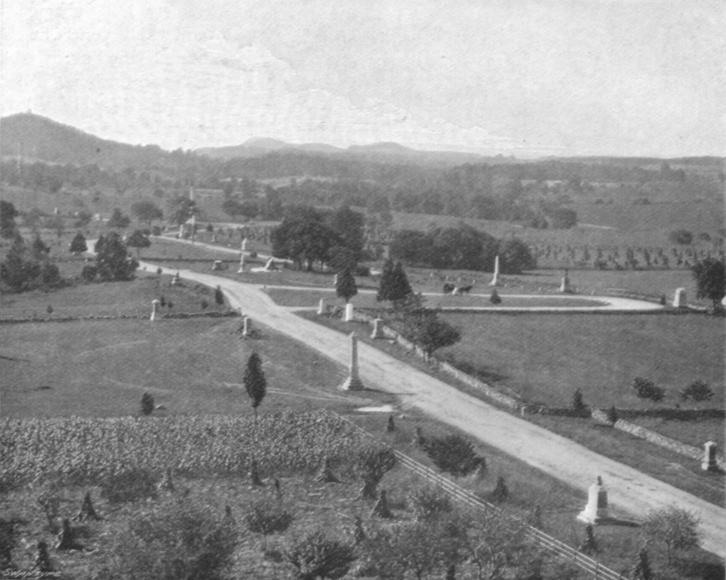Black and white photograph of flat land with dirt roads and historical markers on the sides, from Gettysburg Battlefield.