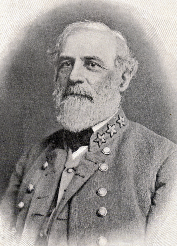 Photograph of a portrait of Robert E. Lee in uniform.