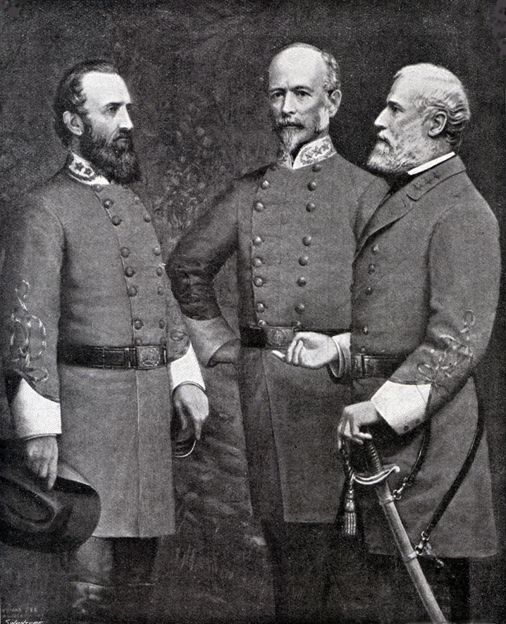 Photograph of Stonewall Jackson (left), Joseph E. Johnston (middle) and Robert E. Lee (right), all in uniform.  Stonewall is holding his hat, and Lee has his hand on hos sword at his side.