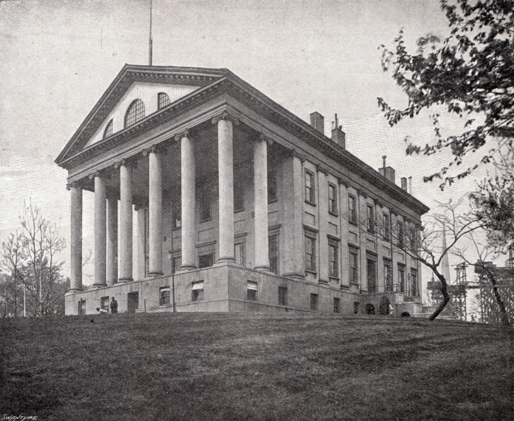 Photograph of the Confederate Capitol building at Richmond, Virginia, designed by Thomas Jefferson. It is in the neo-Classical style with columns across the front porch.