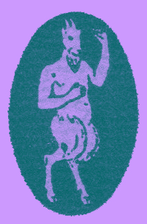 An engraving of the cover logo of The Egoist, of a satyr, a bearded man, half-goat, with horns and a beard.