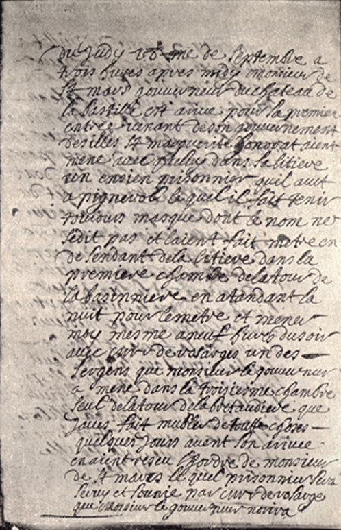 A black and white photograph of a copy of the Note in the Journal of Du Junca about the Man in the Iron Mask entering the Bastille.