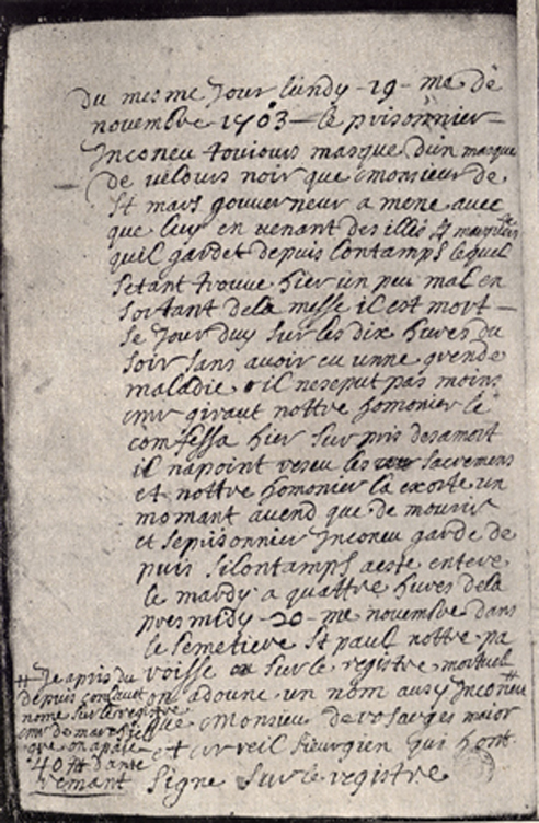 A black and white photograph of a copy of the Note in the Journal of Du Junca about the death of the Man in the Iron Mask.