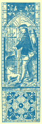 An Engraving of the stained glass window showing the Pedlar and his dog, with his pack on his back.  He is putting a coin into an alms-box.