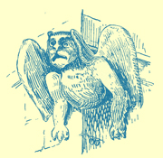 An Engraving of a gargoyle, a winged lion from Stony Sratford.