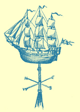 An Engraving of a weathervane in the form of a ship, from St. Thomas à Becket Church, Portsmouth, England.