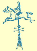 An Engraving of a weathervane in the form of a jockey on horseback, from St. Jude's, Portsmouth, England.