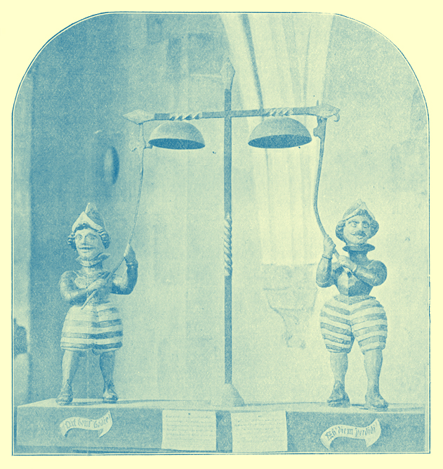 An Engraving of two mustachioed Jacks in striped full knee-length pants and helmets striking the chimes, from Norwich Cathedral, England.