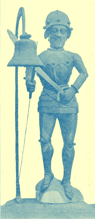 A Photograph of a Jack of the Clock-house, wearing armour, at Southwold, Suffolk, England.