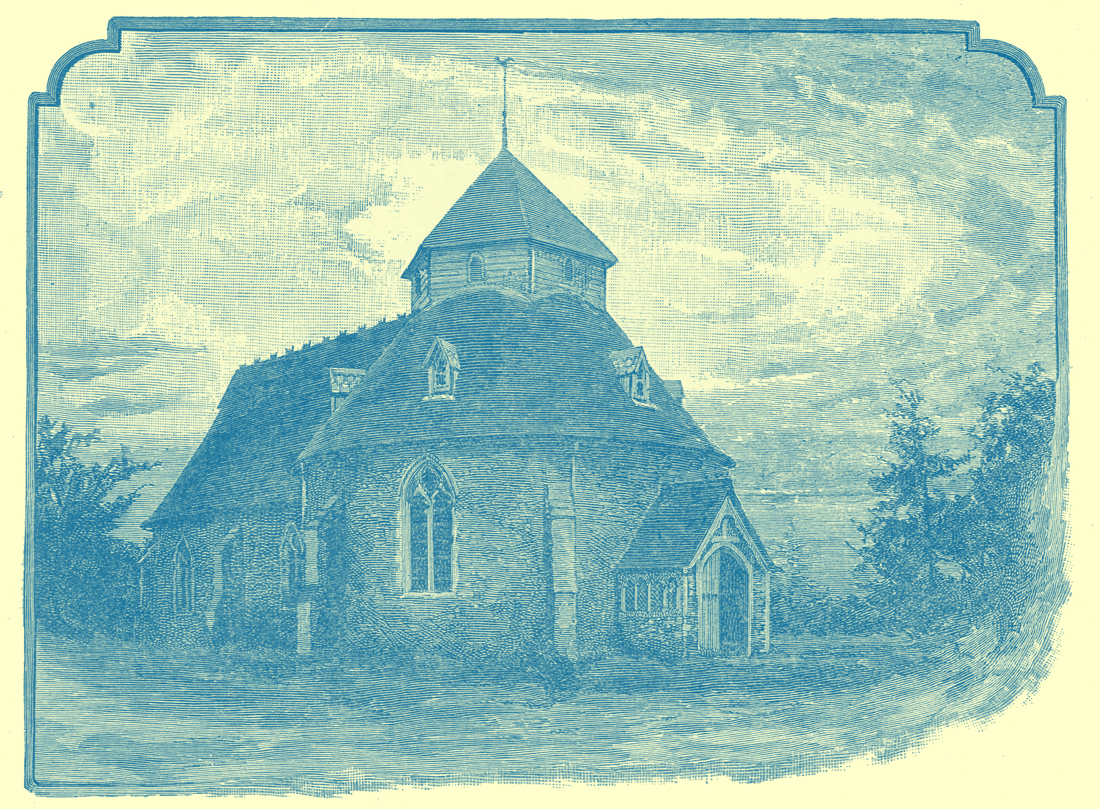 An Engraving of Little Maplestead Church, in Essex, England.  It has a rounded front portion and a hexagonal tower.