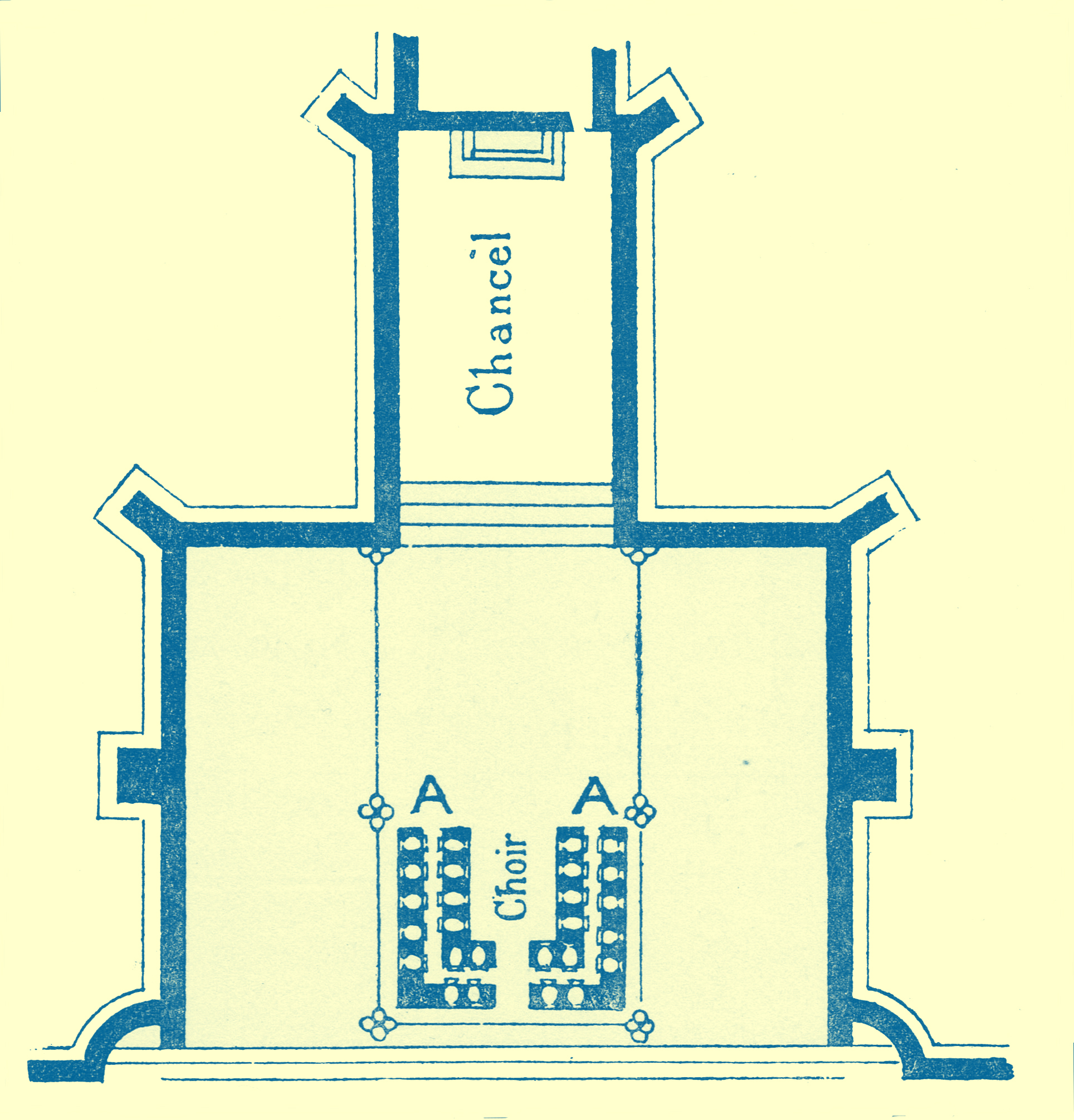 An Engraving of a diagram of floor plan of St. Peter, of Mancroft, showing the position of the acoustic jars.