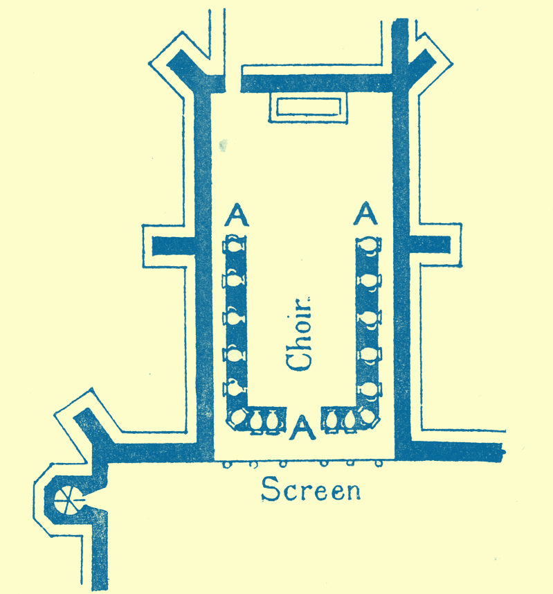 An Engraving of a diagram of the floor-plan of the church showing the position of the Acoustic Jars.  At St. Peter's, per Mountergate, Norwich.
