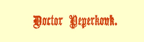 Title in Gothic font, saying 'Doctor Peperkouk.'
