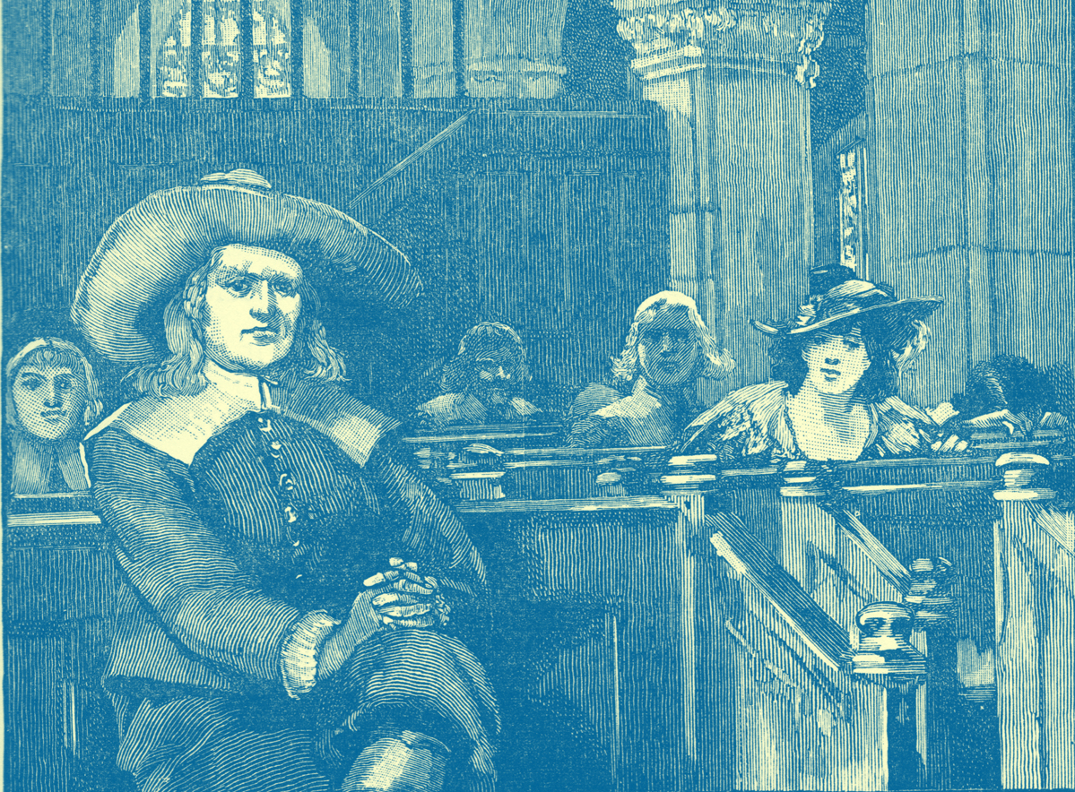 An Engraving of George Fox, wearing a broad-brimmed hat, sitting with one leg crossed over the other.  He is in church and people seated in the pews behind him, including a woman wearing a hat, are looking at him.