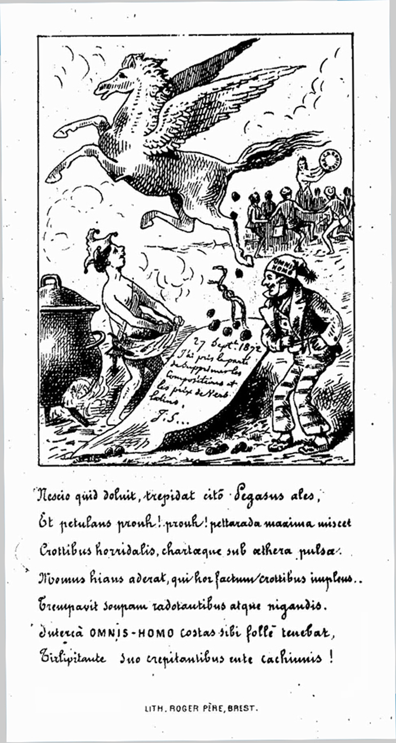 A pen and ink cartoon of Pegasus flying in the sky and pooping on an poster of an edict by Jules Simon.  It is held by a joker standing on earth below.  It was drawn in the late 19th century.