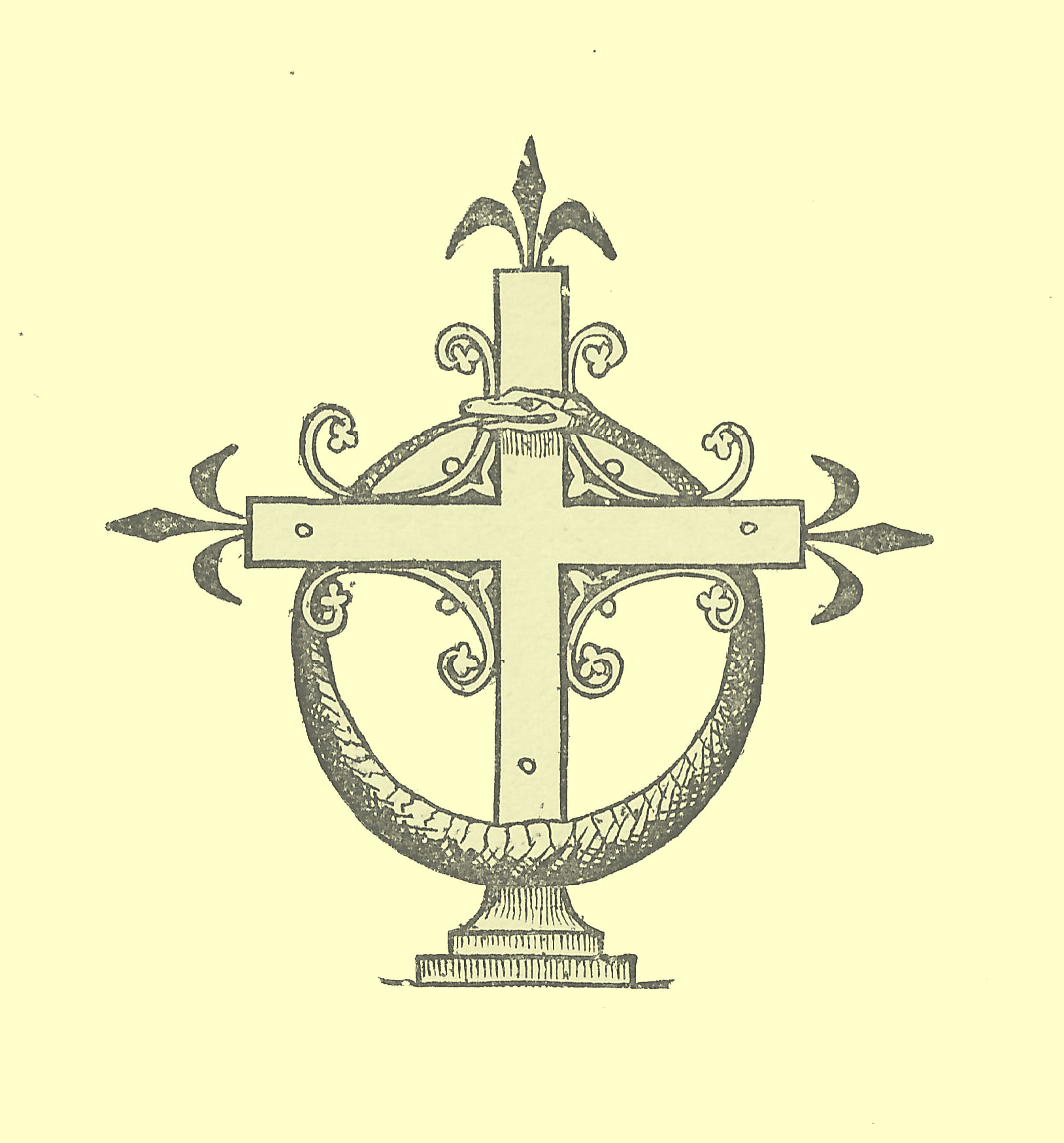 Black and white engraving of the logo for the Series Ancient & Modern Library of Theological Literature, of a decorated cross with a Serpent coiled end to mouth as a wreath hanging from it.