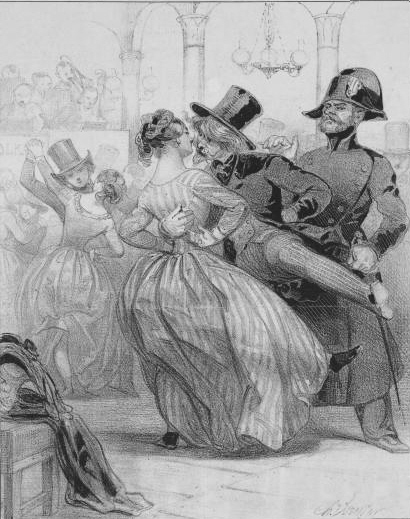 La Polkamanie (Polkamania).  A lithograph by Charles Vernier of a tall, frowning French policeman, standing behind and looking upon a dancing couple.  The hatted and bearded man dancing is holding his partner close.  His leg is kicking out to the side, the woman's striped dress billows out in the vigorous movements of the dance.