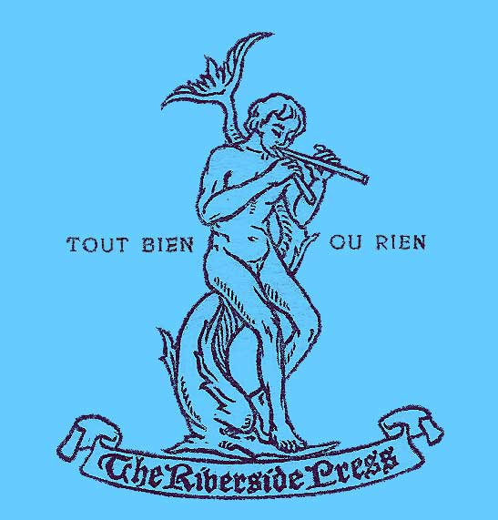 Printers emblem, with a nude youth playing a flute, leaning against a stylized upright dolphin and the motto Tout Bien ou Rien