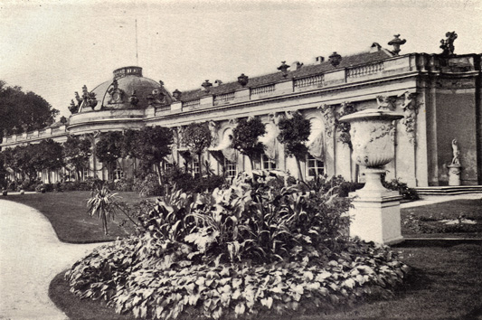 Black and white photograph of Sans Souci, Germany, taken in the late 19th century.