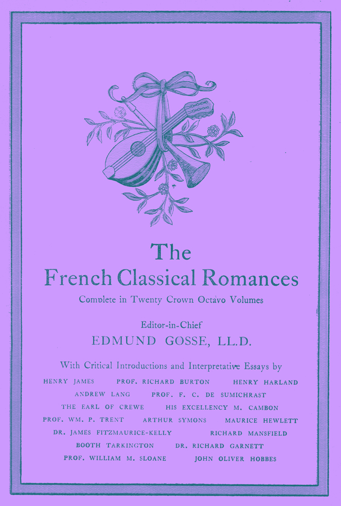 Title Page for the French Classical Romance Series.  It has, originally, a gold border and a centerpiece of a mandolin and flute suspended by a ribbon.